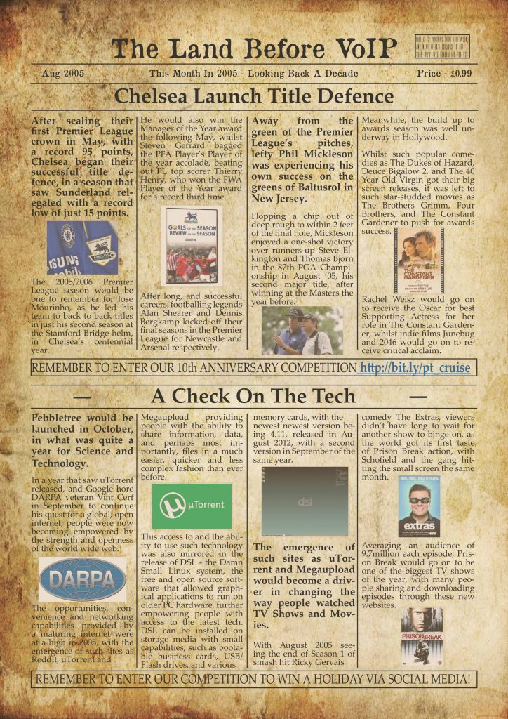 Land Before VoIP - August Newspaper Twitter